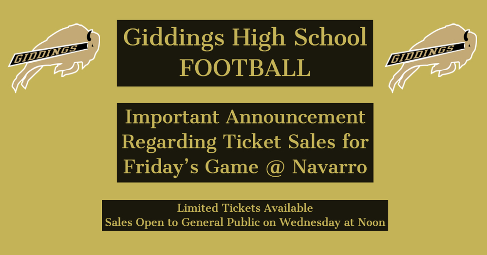 Important Announcement -- Ticket Sales for Buffs vs Navarro Game