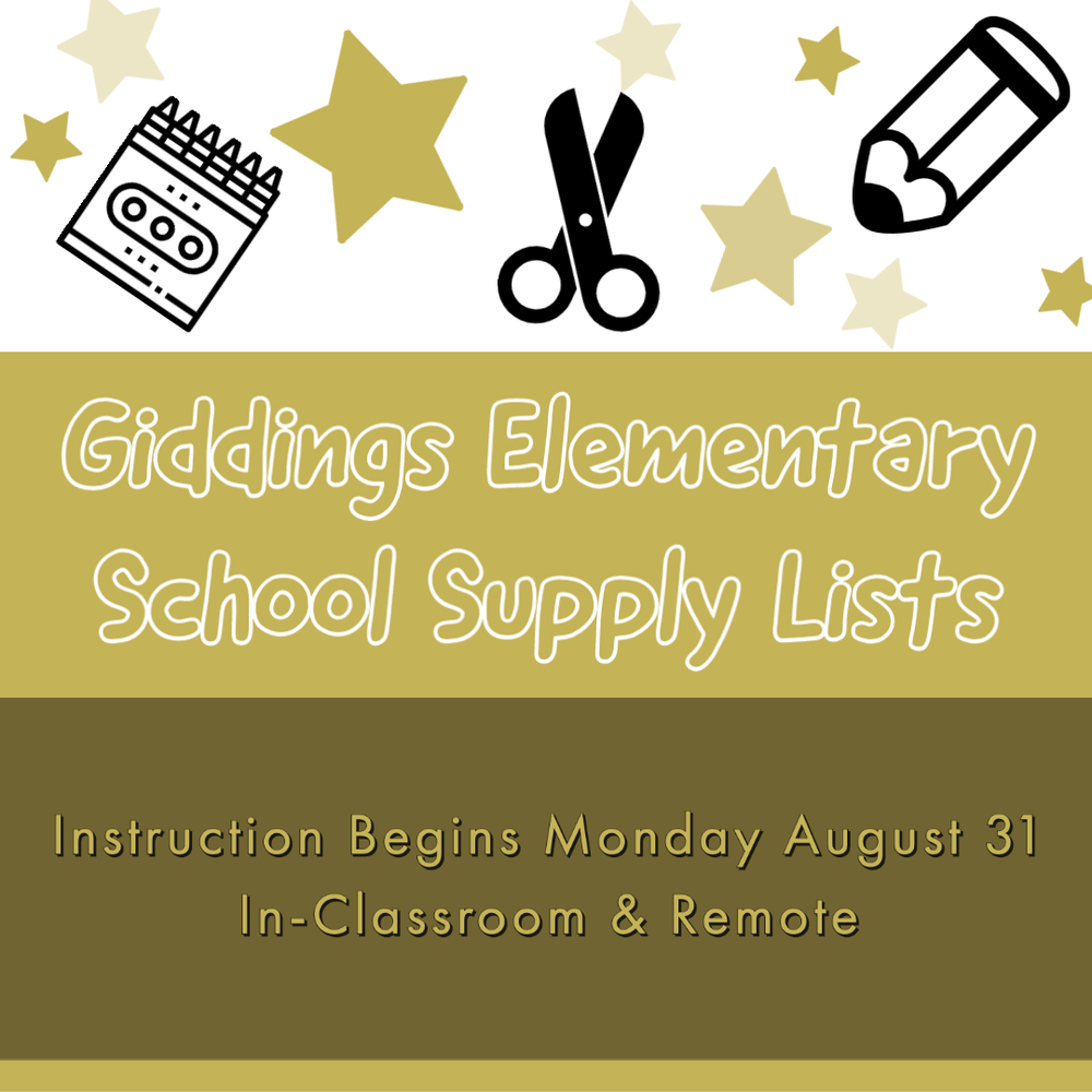 2020-21 Giddings Elementary School Supply Lists