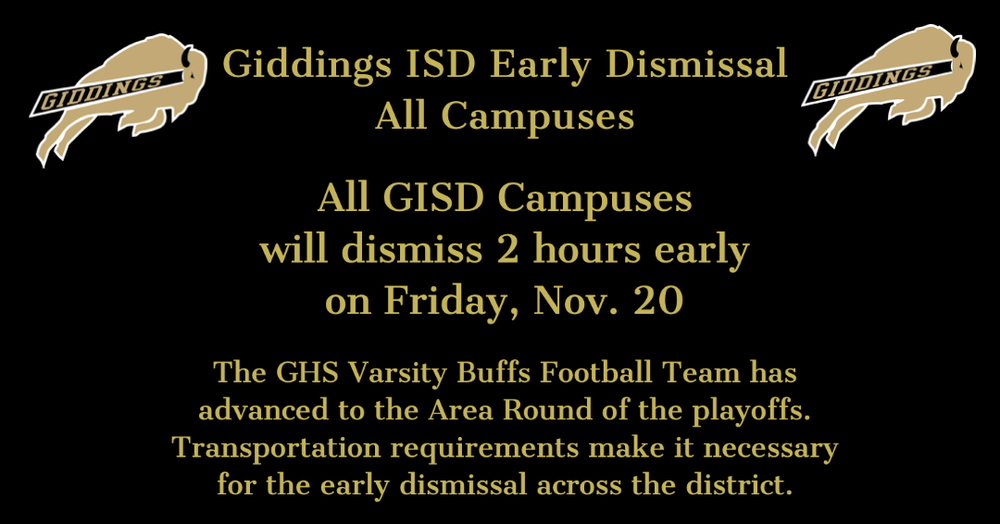 Early Dismissal for All GISD Campuses Friday, Nov. 20