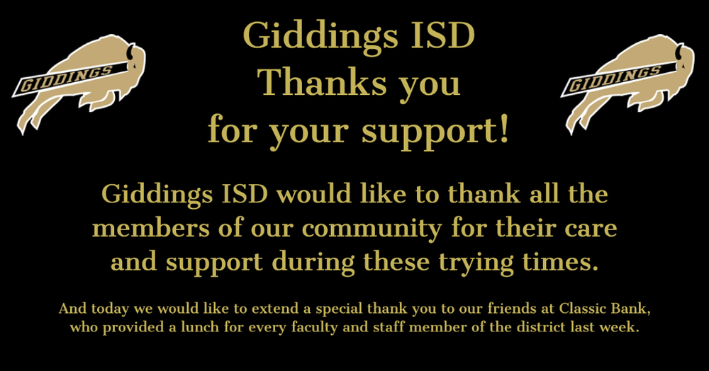 GISD Extends Thanks to Community
