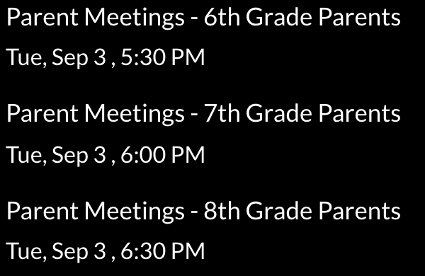 GMS Parent Meetings - Tuesday, Sept. 3rd