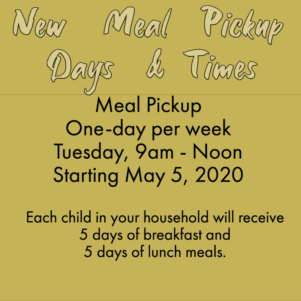 New Meal Service Days & Times