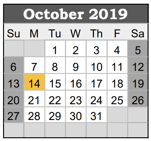 GISD October Staff Development Calendar