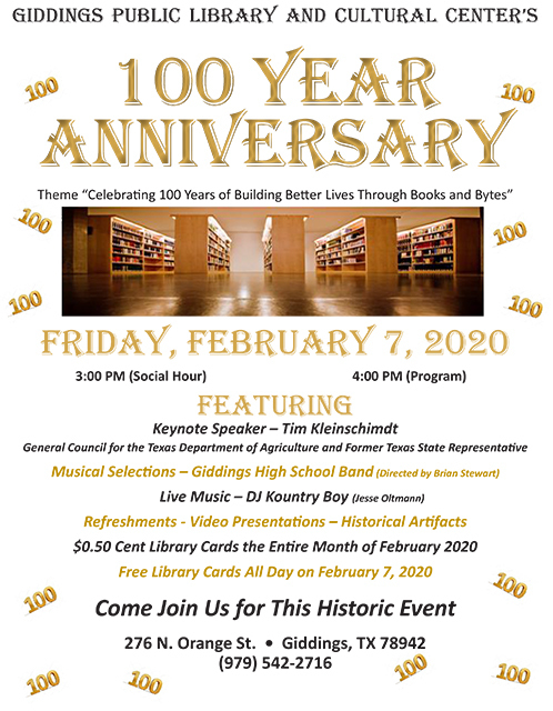 Giddings Library 100 Year Anniversary